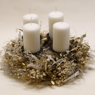Dry Advent Wreath - diameter 35cm - Candles 9cm x 6cm