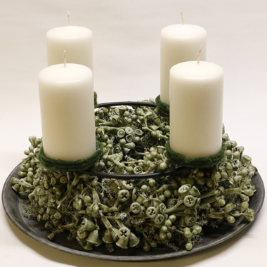 Dry Advent Wreath - diameter 40cm - Candles 12.5cm x 7cm