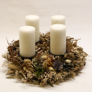 Dry Advent Wreath - diameter 38cm - Candles 12cm x 7cm