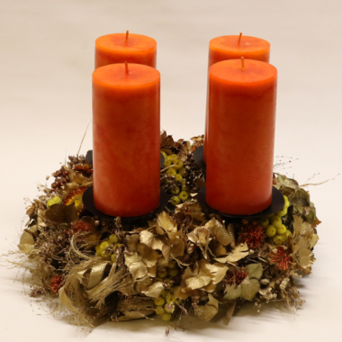 Trockener Adventskranz - Durchmesser 35cm - Kerzen 14,5cm x 6,8cm