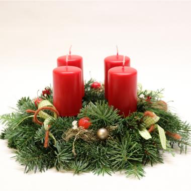 Adventskranz mit Reisig - Durchmesser 31cm - Kerzen 8cm x 5cm
