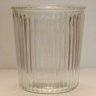 Glasvase gerillt - hoch 15cm - breit 13,5cm