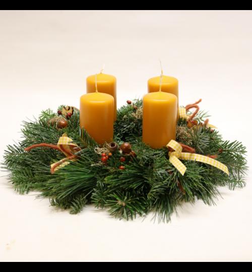 Adventskranz mit Reisig  - Durchmesser 30cm - Kerzen 7cm x 5cm