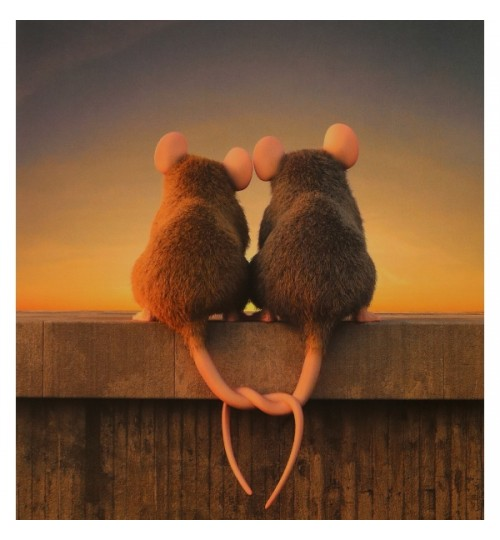 Verliebte Mäuse (15 cm x 15 cm)